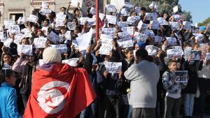 مظاهرة احتجاجية أثناء ثورة الياسمين في تونس. Foto: DW/Mounir Khelifi