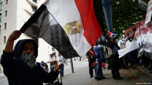 شاب مصري يلوّح بعلم بلاده أمام وزارة الخارجية في برلين بتاريخ 18 أغسطس 2013 مطالباً بتدخل ألماني تجاه الإجراءات الدموية في القاهرة.  Foto: © Matthias Balk/dpa