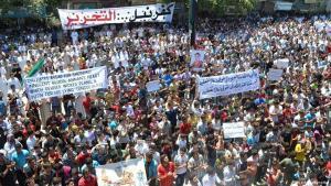مظاهرات احتجاجية ضد الأسد في إدلب عام 2012. photo: picture-alliance/dpa