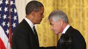 الرئيس الأمريكي أوباما ووزير الدفاع الأمريكي تشاك هيغل.  Foto: Getty Images