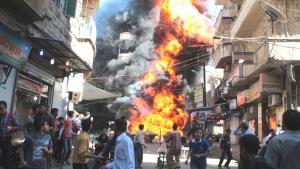انفجارفي حي بستان القصرفي حلب. Foto: Reuters