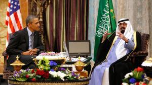 الرئيس الأمريكي باراك أوباما في لقاء مع الملك عبد الله في الرياض. Foto: Reuters