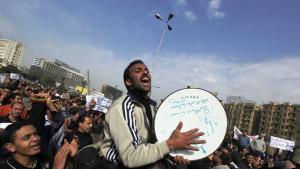 موسيقيون في ميدان التحرير خلال مظاهرة ضد نظام مبارك. Foto: AP