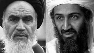 أسامة بن لادن (يمين) والخميني (يسار)