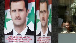 جزء من الدعاية في حملة الأسد الانتخابية في دمشق. Foto: Reuters