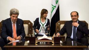 وزير الخارجية الأمريكي كيري ورئيس الوزراء نوري المالكي في بغداد. Foto: Reuters