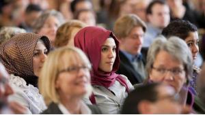 طالبات مسلمات في إحدى الفعاليات في جامعة مونستر الألمانية. Foto: dpa