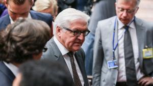 وزير الخارجية الألماني شتاينمايار في اجتماع وزراء خارجية دول الاتحاد الأوروبي في بروكسيل بتاريخ 22 / 07 / 2014. Foto: picture-alliance/dpa