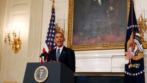 الرئيس الأمريكي باراك أوباما في البيت الأبيض متحدثاً حول الوضع العراقي. Foto: Reuters