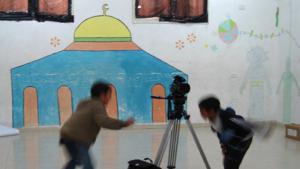 شباب فلسطيني ناشيء في حقل العمل السينمائي. Quelle: Palestinian Social Cinema Arts Association