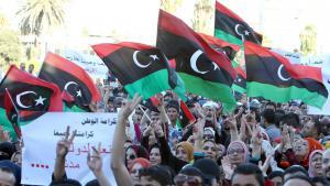مظاهرات في ليبيا ضد المليشيات المسلحة. Foto: picture-alliance/dpa