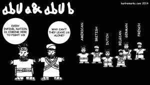 """الشخصيتان الكاريكاتوريتان أبو """"أ"""" و أبو """"ب"""" للمدون العراقي كارل شارو. Quelle: karlremarks.com 2014"""