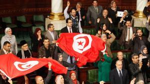 إقرار البرلمان التونسي للدستور الجديد في تاريخ 26 / 01 / 2014. Foto: Reuters