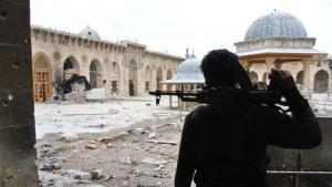 دمار في الجامع الكبير في حلب.  Foto: picture alliance/abaca