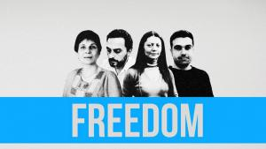 "Kampagne ""Free Douma 4"" حملة الحرية لنشطاء الحرية  Quelle: Syria Untold"