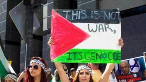 خرج عام 2014 مئات الفلسطينيين والمتضامنين الأجانب حول العالم في مسيرات منددة بالحرب على قطاع غزة. في الصورة متظاهرة في مدينة شيكاغو.