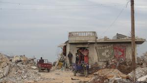 منزل أم فادي النجار في بلدة خزاعة الحدودية.   (photo: Ylenia Gostoli)