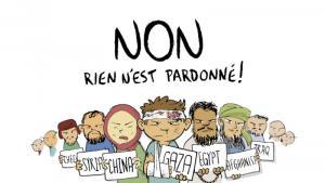 """لقطة من أحد إصدارات مجلة جافجاف الإسلامية التركية الساخرة على غلافها العبارة الفرنسية  """"Non. Rien n'est pardonné""""، التي تعني: """"لا، ليس كلّ شيء مغفور"""" - مع رسم كاريكاتوري لمواطنين من الشيشان وسوريا والصين وفلسطين ومصر وأفغانستان والعراق"""