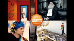"""لوحة إعلانية لفيلم """"تمرد يومي"""" لـ آرش وأرمان رياحي. Foto:  W-film/Golden Girls Filmproduktion"""
