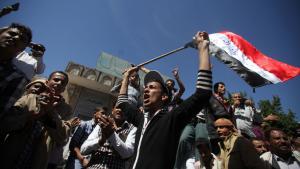 مظاهرات ضد ميليشيا الحوثيين في مدينة تعز اليمنية ; Foto: Reuters/Mohamed al-Sayaghi
