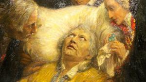 """رسم يظهر فيه الإصلاحي الألماني مارتين لوثر وهو على فراش الموت.   Gemälde """"Luthers letztes Bekenntnis"""" von William Pape, im Museum Luthers Sterbehaus; Foto: picture-alliance/dpa/P. Endig"""