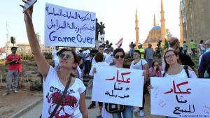 مظاهرات احتجاجية في بيروت على خلفية أزمة النفايات.  Foto: Getty Images/AFP