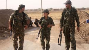 مقاتلون أجانب متحالفون مع الأكراد في سوريا. (photo: DW/K. Sheikho)