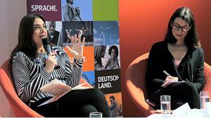 رانيا زغير وأميرا الأهل. (Foto: Goethe-Institut/Mirko Lux)
