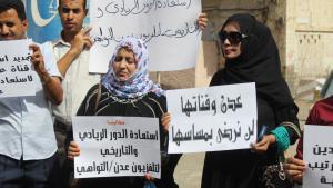 مظاهرة في عدن بمشاركة نسائية. Foto: DW/N. Alyousefi