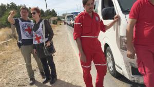 قافلة إغاثة أممية في طريقها إلى مضايا السورية. Foto: ICRC/Pawel Krzysiek/dpa