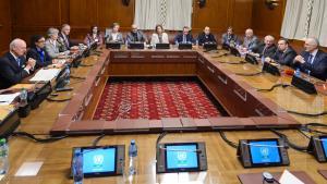 المفاوضات حول مستقبل سوريا في جنيف. Foto: Getty Images/AFP/F. Coffrini