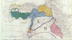 """;  أثار التمدّد المثير لتنظيم """"الدولة الإسلامية في العراق والشام"""" من سورية إلى العراق في العام 2013 وإعلانه قيام دولة «الخلافة» بعد عام من ذلك، الكثيرَ من التأويل حول نهاية اتفاق «سايكس- بيكو» البريطاني-الفرنسي الذي قسَّم الولايات المشرقية في الإمبراطورية العثمانية منذ ما يقرب من قرن مضىQuelle: British Library"""