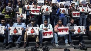 صحفيون ومصورون مصريون يحتجون على قمع حرية التعبير.Foto: AFP/Getty Images