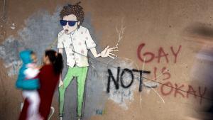 رسم معدي للمثلية الجنسية على أحد الجدران. Foto: Getty Images/AFP/A. Nimani