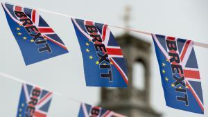 """علم حملة خروج بريطانيا من الاتحاد الأوروبي """"بريكست"""". Foto: Getty Images/AFP/C. J. Ratcliffe"""