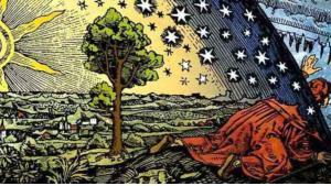 نقش فلاماريون هو نحت خشبي لفنان غير معروف. ونقش فلاماريون فلاماريون (1888) يصور المسافر الذي يصل إلى حافة الأرض المسطحة ويمد رأسه من خلال السماء. الأرض المسطحة هو نموذج قديم يتصور الأرض على شكل قرص أو سطح مستوٍ، الكثير من الحضارت كانت تتصور الأرض مسطحة. تم توثيقه أول مرة في كتاب كميل فلاماريون في عام 1888 في كتابه حول الغلاف الجوي والأرصاد الجوية. وهذا الرسم تعبير مجازي إما عن الجوانب العلمية أو الأسطورية للمعرفة.  Quelle: wikipedia