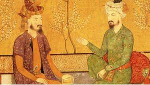 لوحة تاريخية: بابُر وخليفته هُمايون. Quelle: wikipedia