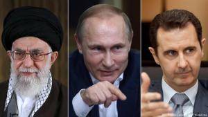 علي خامنئي وفلاديمير بوتين وبشار الأسد