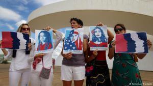 شهدت البرازيل أيضاً وقفة احتجاجية، تحمل صور ترمز للنساء من مختلف الأعراق والأديان.