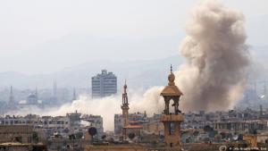 تفجيرات في إحدى ضواحي دمشق. Foto: AFP/Getty Images