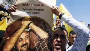 مسيرة تضامنية مع الزعيم الفتحاوي السجين مروان البرغوثي. Foto: AFP/Getty Images