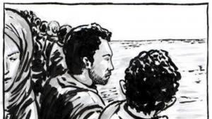 """كتاب """"معبر حدودي"""" - قصص مصورة عن مآسي اللاجئين. Foto: Dar Sefsefa"""