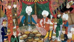 مأدبة طعام أقامها القائد العسكري المسلم لالا مصطفى باشا للجنكاريين في إزميت، في تاريخ 5 أبريل/ نيسان عام 1578 ميلادي. (source: Topkapi Palace Museum Library, MS H1365, fol. 34b.)