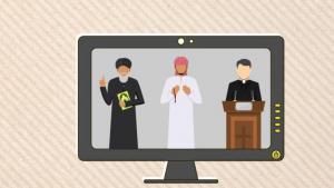 رسمة تعبيرية: الإسلام السني والإسلام الشيعي والمسيحية. الصورة: رصيف 22