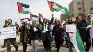 أنصار المصالحة بين فتح وحماس.  AFP / Getty Images