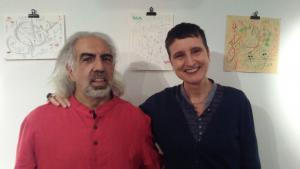 الفنان والشاعر الفلسطيني فريد بيطار والمحررة الأدبية نعومي فويل. (photo: Naomi Foyle)