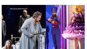 """من مسرح مدينة بون - ألمانيا. على اليمين: ملحمة الأوبرا الألمانية """"زركسيس"""" الحاكم الفارسي الباطش من تأليف الموسيقي الشهير في عصر الباروك هيندل. على اليسار: ملحمة فاغنر الأسطورية """"لونغرين"""" التي تتناول نمط المزج بين السحر الأسطوري والوقائع الحياتية اليومية"""