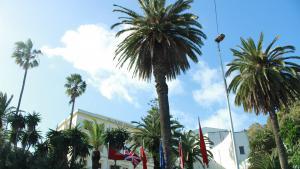 علم المغرب وأعلام دول غربية أمام أحد مباني طنجة. الصورة: وصال الشيخ