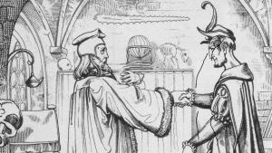 لوحة إبرام عقد مع الشيطان للرسام يوليوس نيسله من حوالي عام 1840. Der Teufelspakt, Stahlstich von Julius Nisle (um 1840) http://deacademic.com
