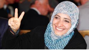 الناشطة الحقوقية اليمنية الحائزة على جائزة نوبل للسلام  توكل كرمان. Foto: AP